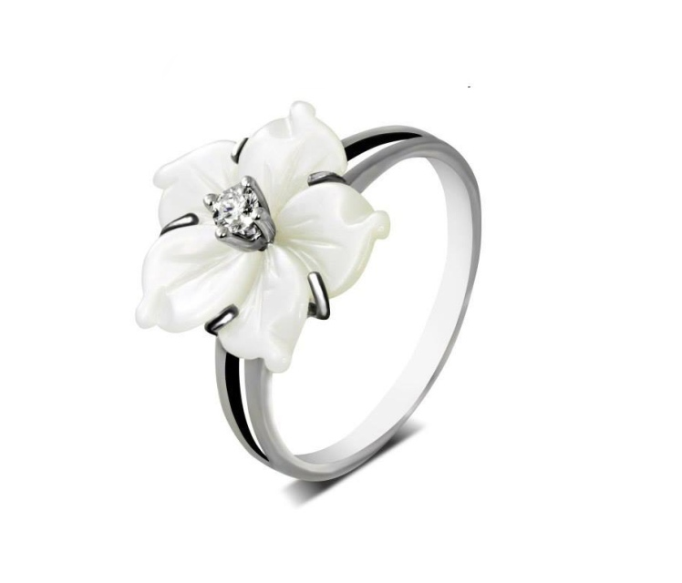 Edited flower silver ring